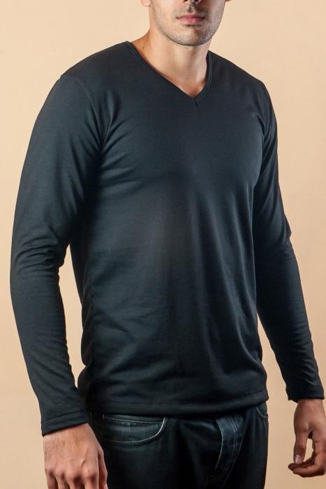 Thermo T-Shirt Langarm V-Ausschnitt Kardiert Baumwolle 15-135