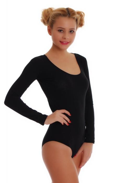 Cotton Frauen Langarm Bodysuit Bikini Stil 1380