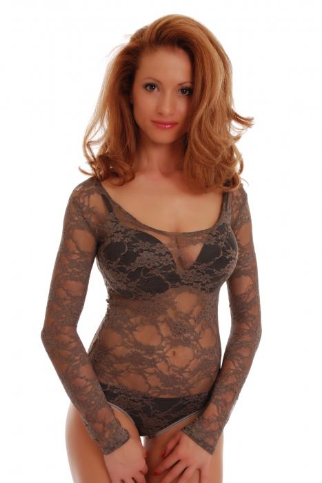 Lace Damen Bodysuit Rundhals Langarm Bikini Stil 904