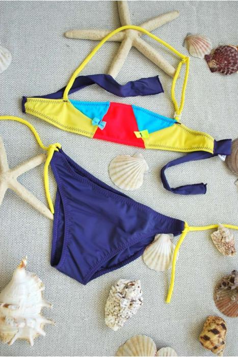 Kinder Bikini Badeanzug Bando Böden mit Krawatten 1113