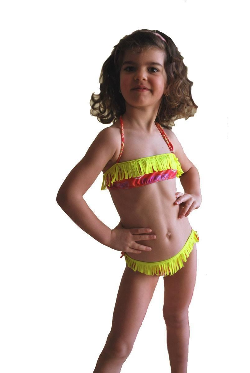 48fbb626baaee Kinder-Bikini-Badeanzug Bando Makramee Böden mit Riegeln 1115