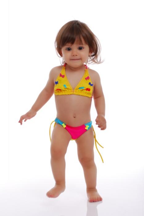 Kinder Bikini Badeanzug weiche Dreieck Böden mit Krawatten 1114