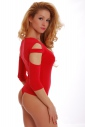 Baumwoll-Frauen extravagant Bodysuit 7/8 Ärmel Tanga 1441