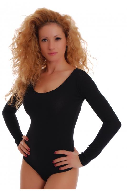 Baumwolle Bodysuit Rundhals Langarm Tanga Style 1370