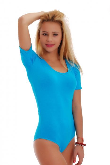 Cotton Bodysuit Round Scoop Neck Short Sleeve Bikini 1445