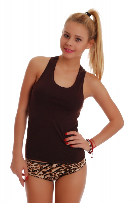 Frauen Set Tank Top Open Back & Boyshorts Höschen Leopard 1308-1065