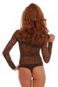 Sexy Tulle Womens Bodysuit Langarm Schildkröte Hals Thong 343