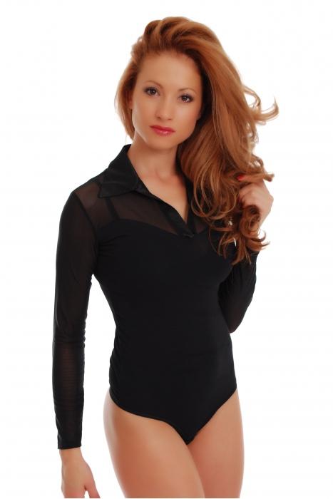 Baumwoll-Frauen-Bodysuit-Kragen-geöffneter Ansatz-langer Hülsen-Zapfen 1470
