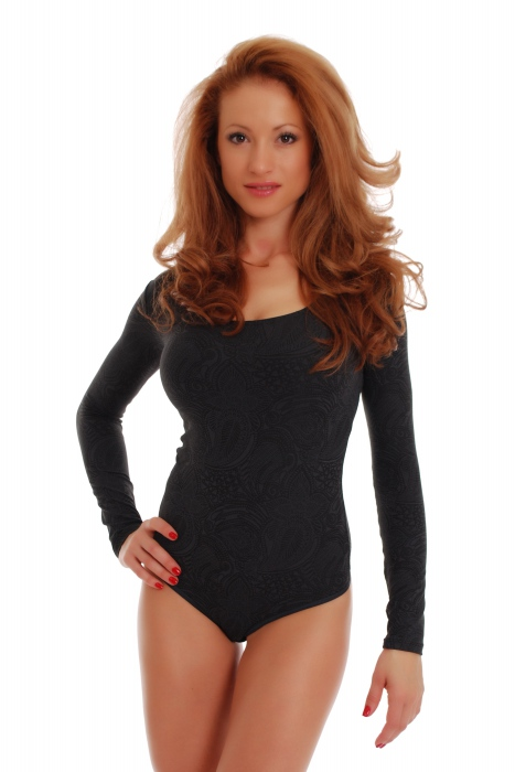 Microfiber Womens Bodysuit Rundhals Langarm Tanga 1478