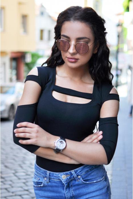 Baumwolle Frauen extravagant Bodysuit 7/8 Ärmel Tanga 1441
